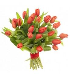Букет из 21 красного тюльпана «Рыжее облако»