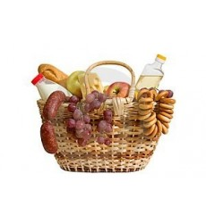 Подарочная корзина с выпечкой, сыром, колбасой и фруктами «Скатерть-самобранка»