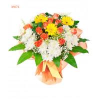 Букет из 3 гербер, 15 роз и 6 кустовых хризантем «Романтический месяц»