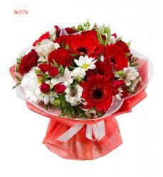 Букет из 4 альстромерий, 3 гербер, роз, тюльпанов и зелени «Оливия»