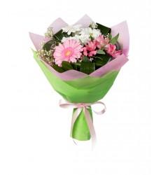 Букет из гербер, альстромерий и кустовых хризантем «Мисс совершенство»