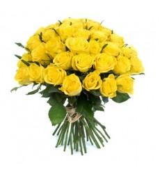Букет из 31 жёлтой розы «Дыхание солнца»