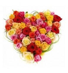 Букет из 51 разноцветной розы «Цветные чувства»