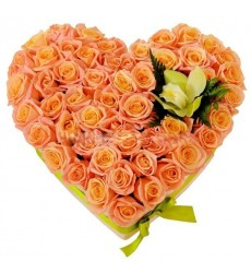 Цветочная композиция из 50 роз Мисс Пигги и орхидеи «Розовое сердце»