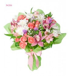Букет из орхидей, кустовых роз, хризантем и альстромерий «Весенний перезвон»