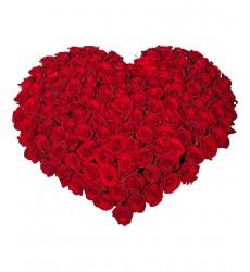 Цветочная композиция из 150 красных роз «Королевское сердце»