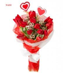 Букет из 13 красных тюльпанов «Наивная любовь»