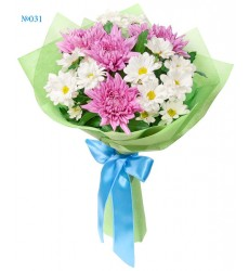 Букет из 4 одноголовых и 3 кустовых хризантем «Несмелый поцелуй»