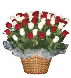 Корзина цветов с 51 белой и красной розами «Цветочная роскошь»