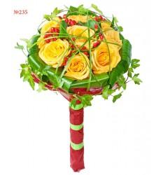 Букет невесты из 7 роз и зелени «Оживший сон»