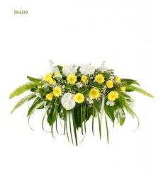 Цветочная композиция из 3 альстромерий, 7 гербер, 9 роз и зелени «Утончённая роскошь»