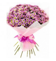 Букет из 19 розовых хризантем «Розовый закат»