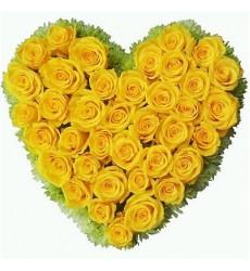 Цветочная композиция из 41 жёлтой розы «Солнечные чувства»