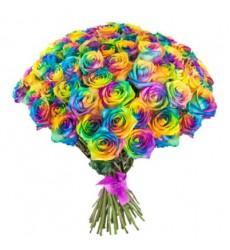 Букет из 75 радужных роз «Аромат радуги»