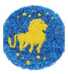 Цветочная композиция из 40 синих и 10 жёлтых кустовых хризантем «Зодиакальный Лев»