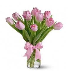 Букет из 11 нежно-розовых тюльпанов «Fairy Tail»