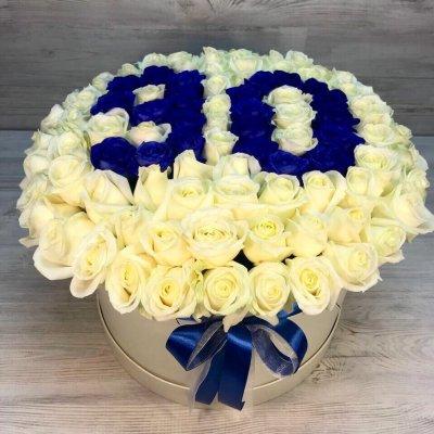 Букет из 101 белой розы в шляпной коробке «C цифрами»