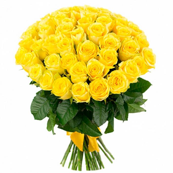 Букет из 59 ярко желтых роз «Солнечный день»