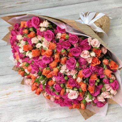 Букет из 49 кустовых роз «Афродита»