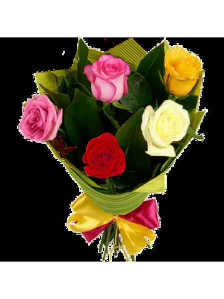 Букет из 5 разноцветных роз  «Многогранность чувств »