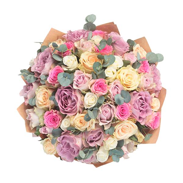 Букет из 59 роз ассорти «Бенефис»