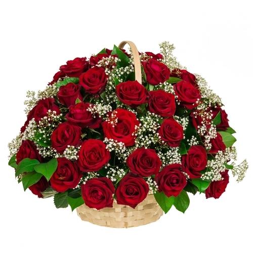 Траурная корзина №2 из живых цветов «50 красных роз, гипсофилы.»