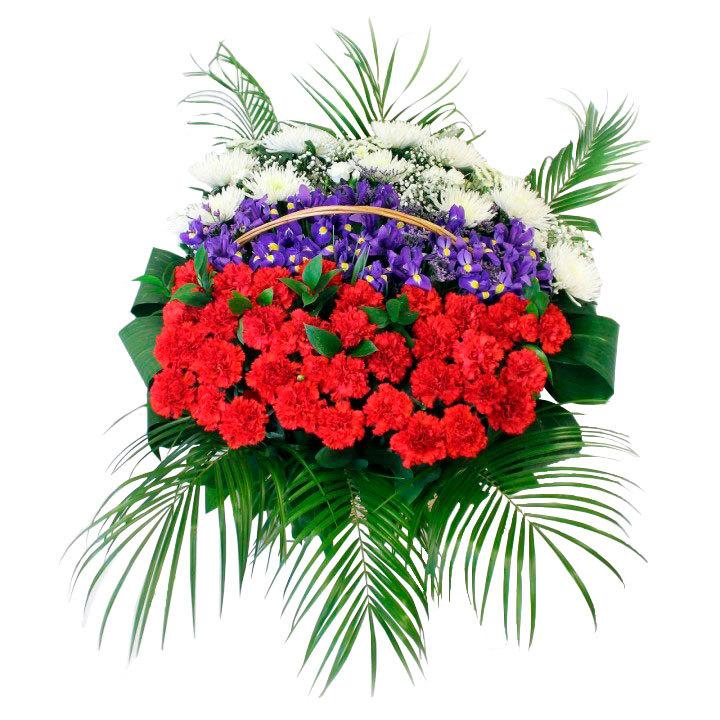 Траурная корзина №38 из живых цветов «Триколор»