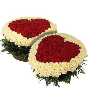Цветочная композиция из 1001 розы «Стук сердца»