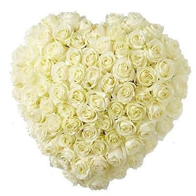 Цветочная композиция из 101 белой розы Аваланж «Любовное послание»