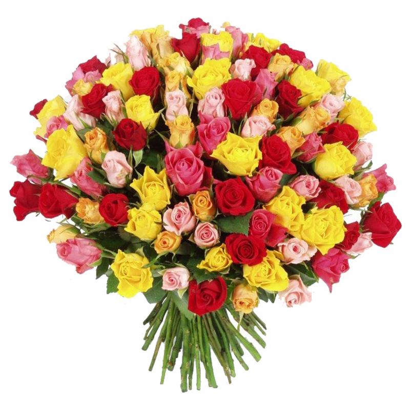 Букет-микс из 101 разноцветной розы  «Фаворитка »