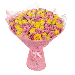 Букет из 101 розовой и жёлтой розами «Симфония сердец»