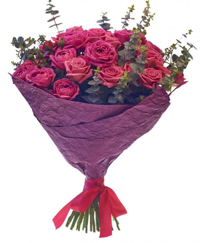 Букет из 23 пурпурных роз с листьями эвкалипта  « Ароматный бархат »