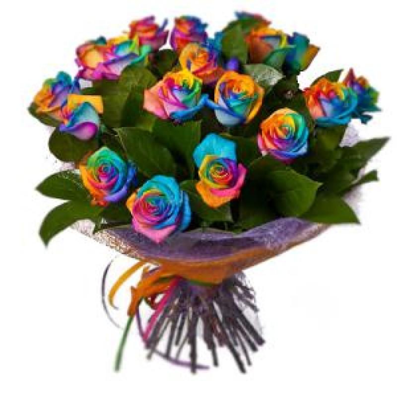 Букет из 23 радужных роз  «Иллюзия »