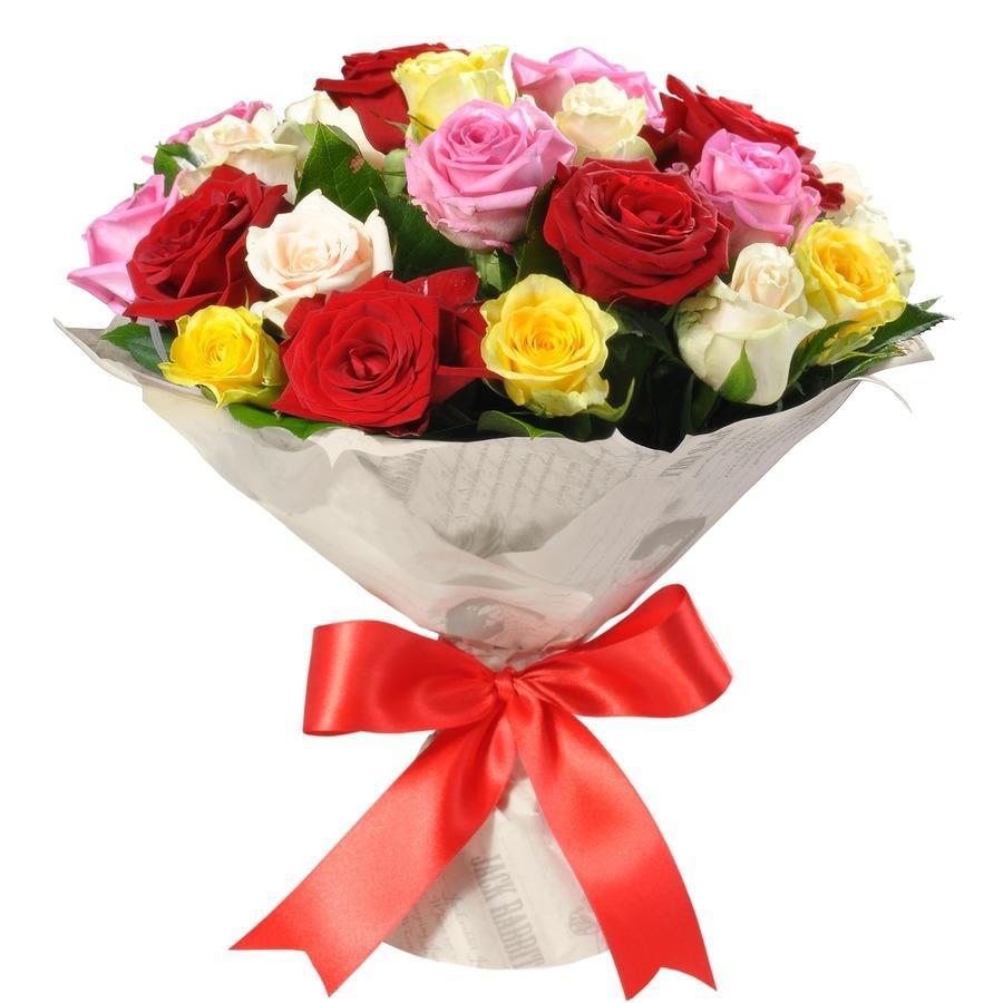 Букет из 25 белых и розовых роз «Нежный взгляд»