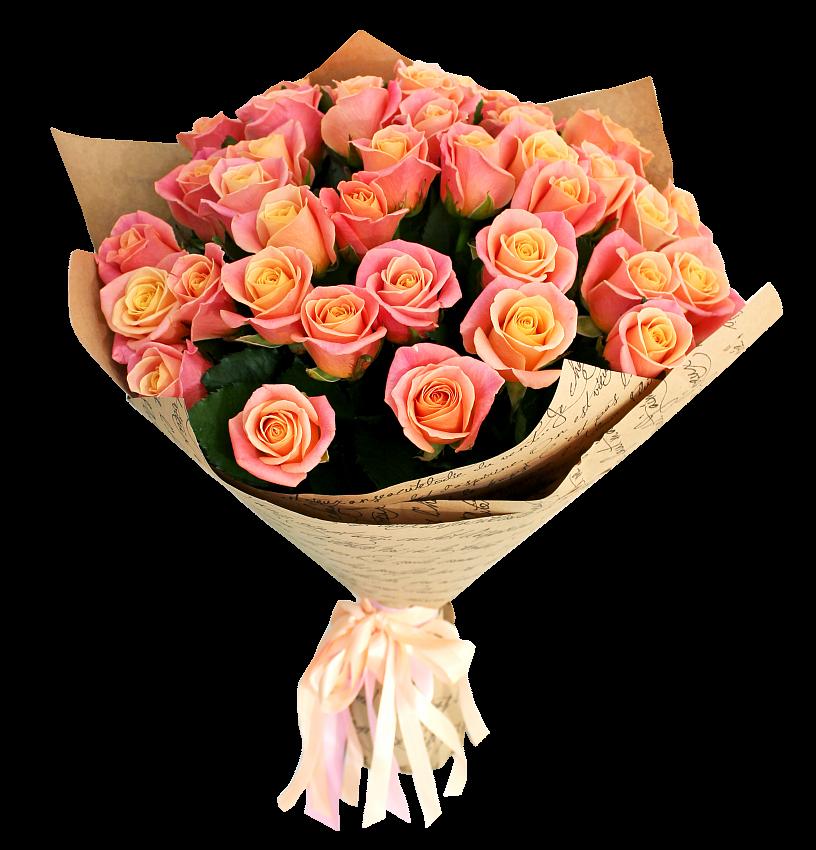 Букет из 25 роз Мисс Пигги «Локоны принцессы»