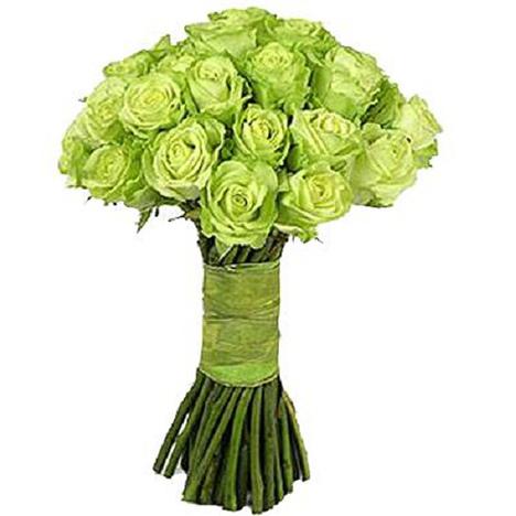 Букет из 25 зеленых роз «Летняя прогулка»