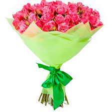 Букет из 27 кустовых роз розового цвета  «Лучшей в мире »