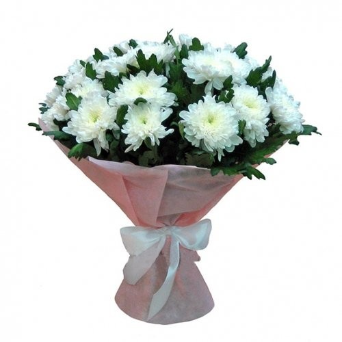 Букет из 29 белых одноголовых хризантем «Танец в облаках»