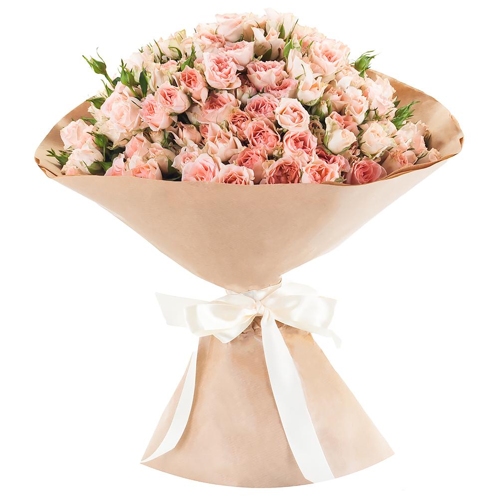 Букет из кустовых розовых роз «Страна чудес»
