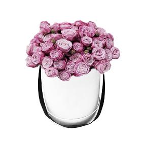 Букет из 41 кустовой розы сиреневого цвета в шляпной коробке «Сокровище »