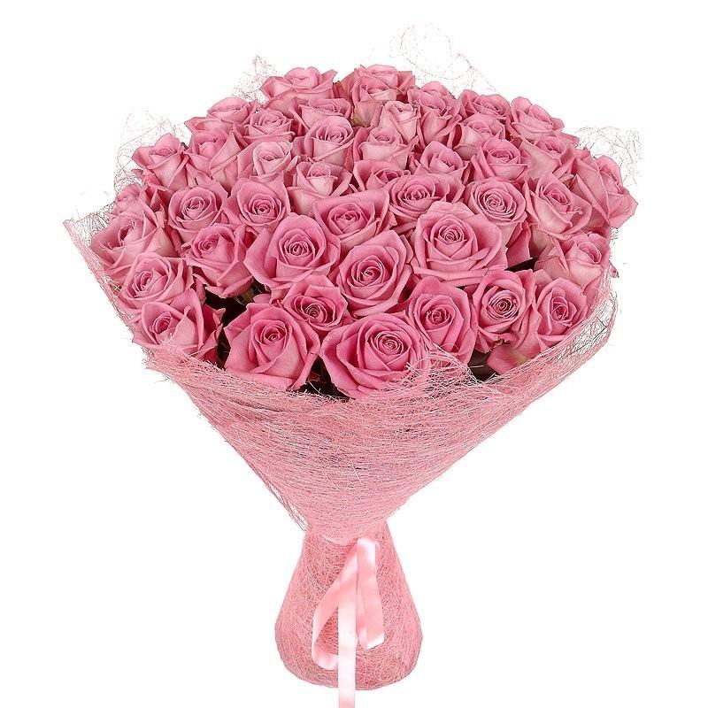 Букет из 50 розовых роз «Розовый полёт»