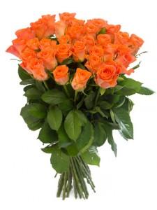 Букет  из 37 оранжевых роз «Горячий поцелуй»