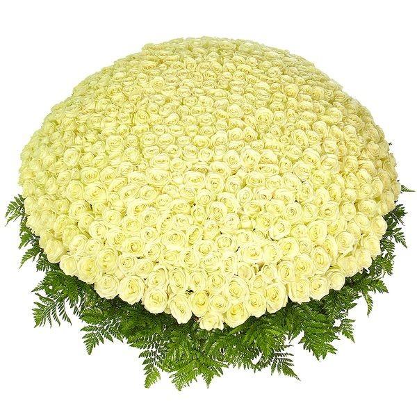 Корзина цветов с 501 белой розой «Очарование царицы»
