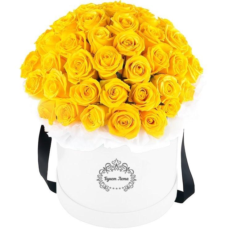Цветы в шляпной коробке с 51 жёлтой розой Сфинкс «Египетская царица»