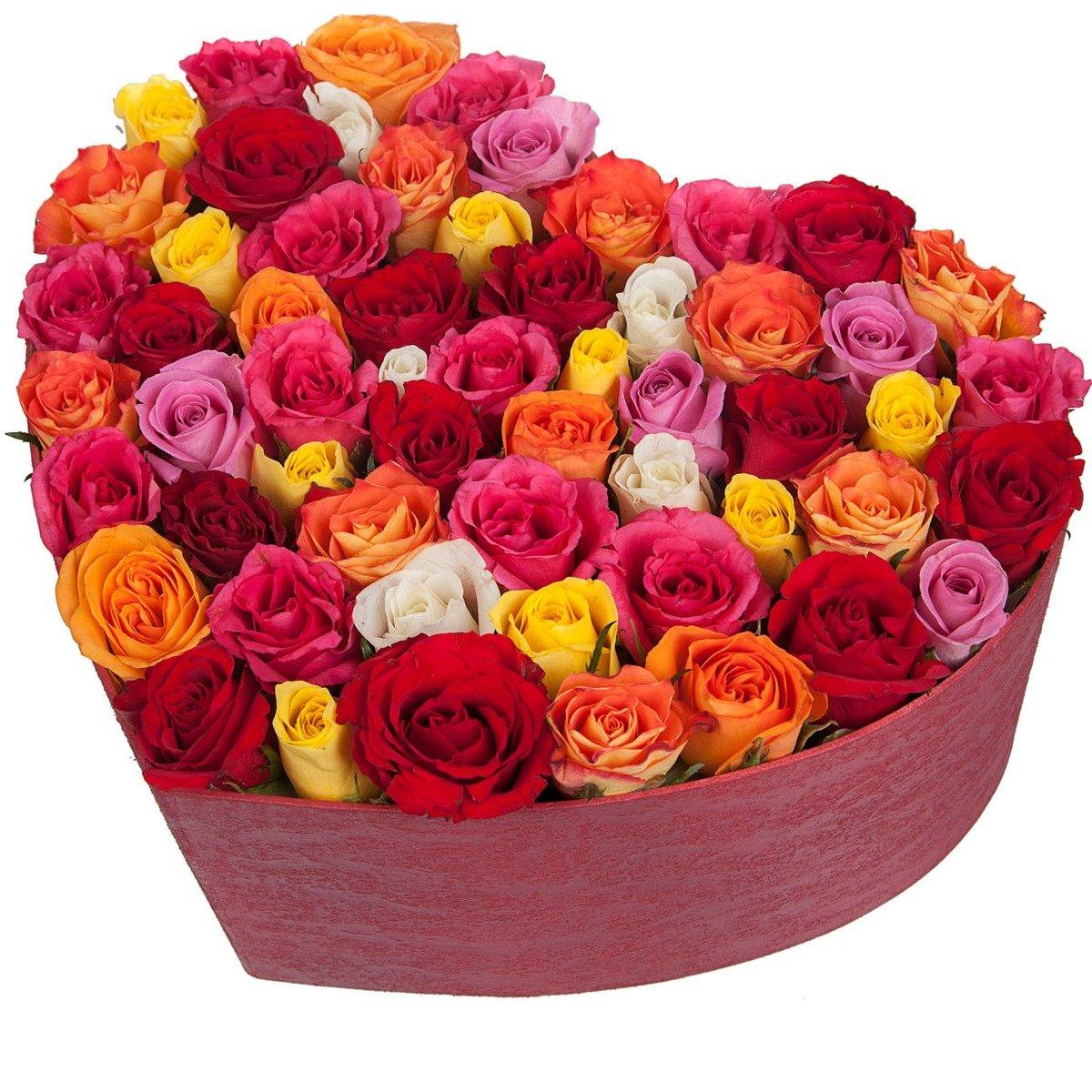 Композиция  из 61 разноцветной розы в коробочке в форме сердца  «Страстные сердца »