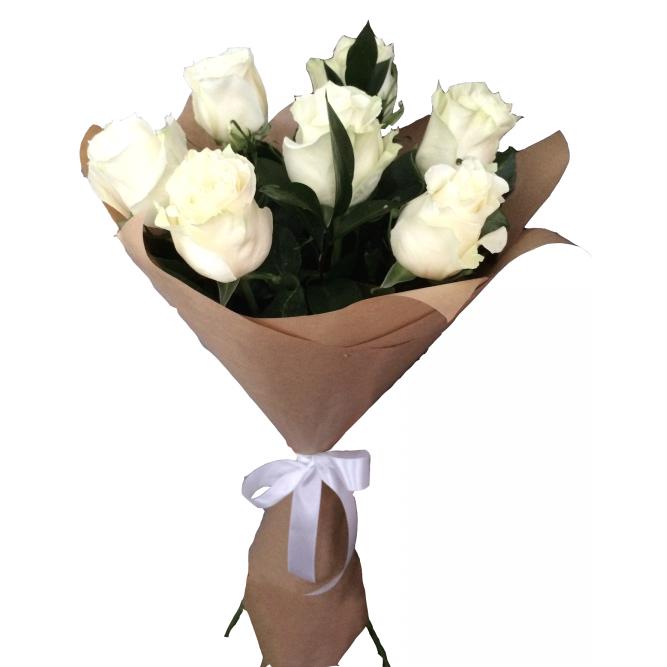 Букет из 7 белых роз  «Крылья души »