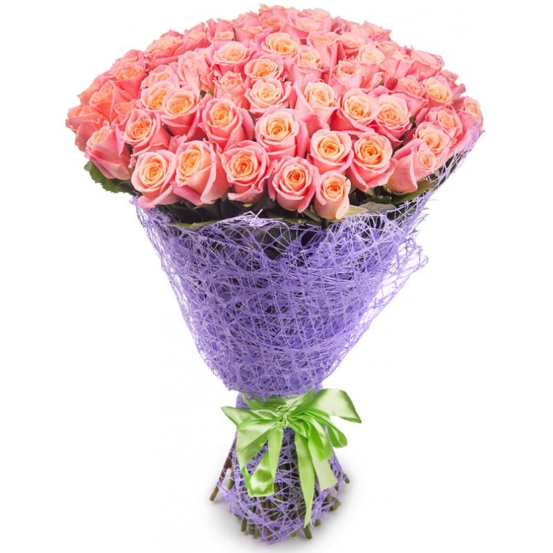Букет из 71 розовой розы  «Рядом с тобой »