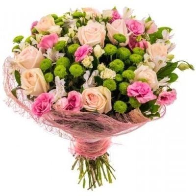 Букет из 15 роз, 5 альстромерий, 6 лизиантусов и 5 хризантем «Сады Семирамиды»