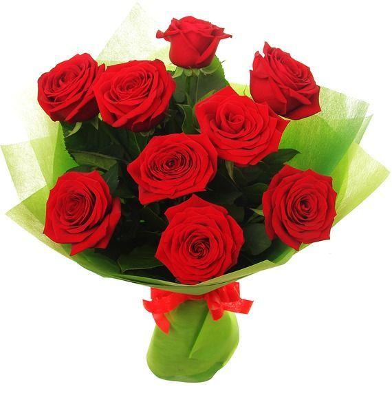 Букет из 9 роз Гран При и зелени «Алая страсть»