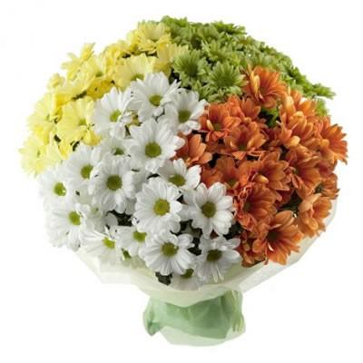 Букет из 11 кустовых хризантем «Небесная песня»